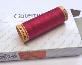 Box Magenta Red 5838 100m x 5 reel Natural Cotton C Ne 50 Gutermann Creativ Thread Matched to Kaffe Fassett fabrics