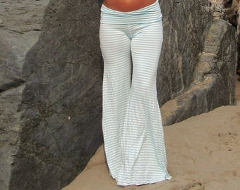 AQUA WHITE STRIPE  palazzo (wide leg, goucho) yoga lounge beach resort casual pants with fold over waist