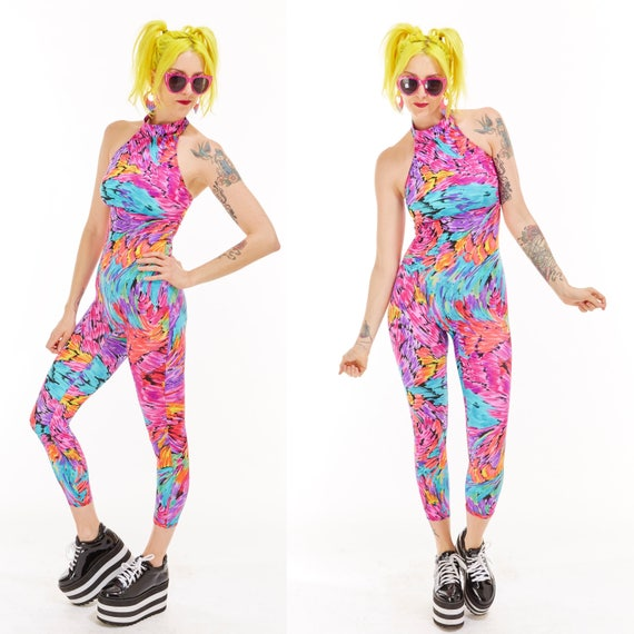 Vtg 90s PSYCHEDELIC PRINT Jumpsuit Catsuit Onesie BODYSUIT Bodycon Bandage Raver Club Kid New Wave Disco Avant Garde Cyber Sea Punk Dance