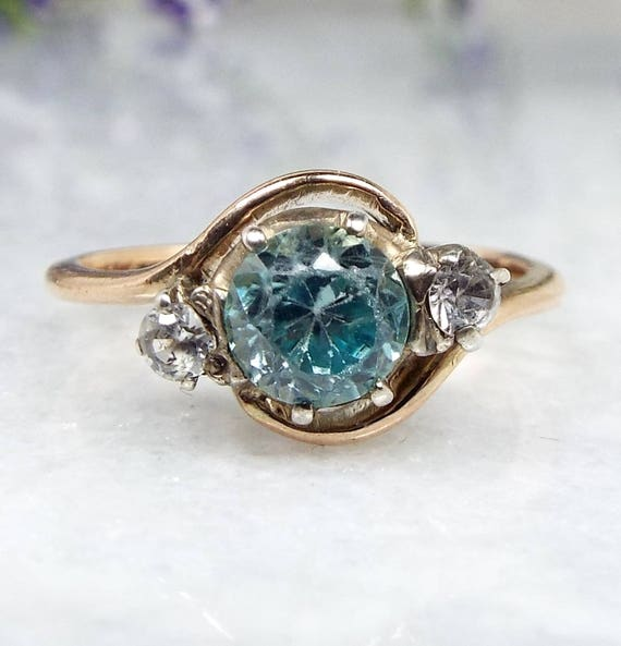 Vintage 9ct Rose Gold Blue Zircon and White Spinel Trilogy Bypass Ring / Size K