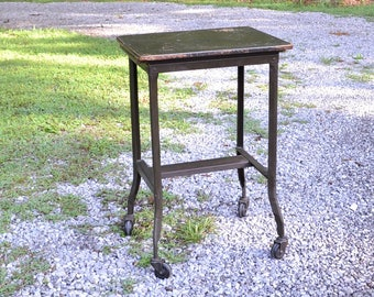 Vintage Metal Typewriter Table Stand Military Drab Green Wooden Top Rolling  Expandable Industrial Cart PanchosPorch