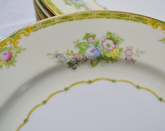 Vintage Meito Woodbine Dinner Plate set of 7 Green Border Floral Vintage Wedding China Japan Replacement PanchosPorch