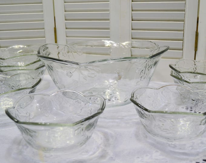 Vintage Anchor Hocking Savannah Salad Bowl Set Floral Clear Glass Made in USA Discontinued Pattern Panchosporch