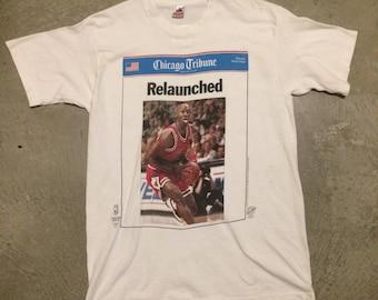 """Vintage 1995 Michael Jordan Chicago Tribune """"Relaunched"""" T-shirt"""