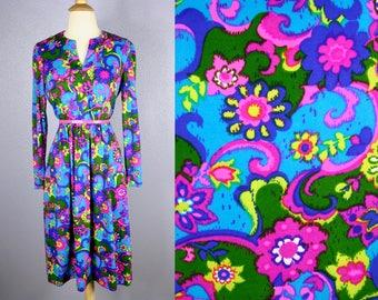 Vintage 70s PSYCHEDELIC Dress 60s Mod Dress Retro Midi Dress GROOVY Dress Flower Power Hippie Dress Neon Bright FLORAL Blue Pink Festival