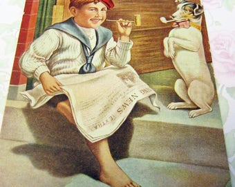 """1908 POSTCARD ART """"Hitting The Pipe"""" #5223 Barefoot Boy Reading the Morning News with His Best Friend"""
