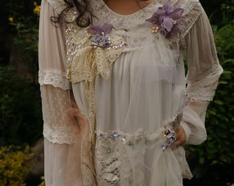 Romantic chiffon blouse Bohemian elegant shirt Mori girl beaded blouse Altered couture blouse Reworked shabby chic blouse Hand beaded shirt