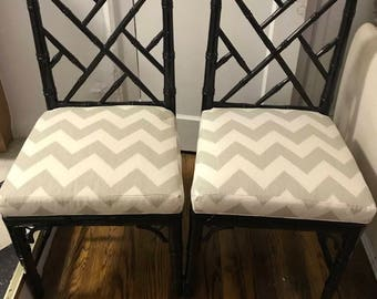 Wonderful pair of Jonathan Adler faux bamboo chairs ON SALE!