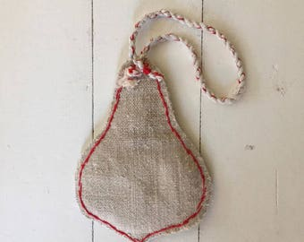 Large Vintage Linen Christmas Bauble Decoration