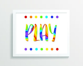Play Playroom Wall Art, Kids Wall Art, Printable Wall Art, Playroom Print, Digital Art