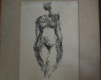 "60s original ink drawing, 15"" x 19"""