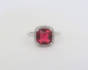 Vintage Sterling Silver Cushion cut Ruby & White Topaz Halo Ring Size 9