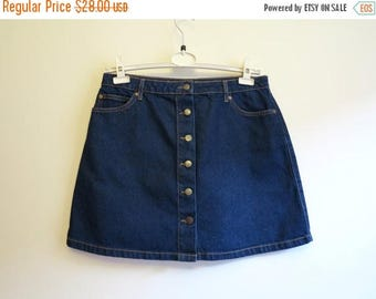 ON SALE Navy Blue Skirt Mini Denim Skirt Denim A Line Skirt Buttons Up Denim Skirt Large Size Jeans Skirt Back to School