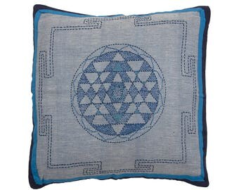 Embroidered Bengali CUSHION COVER - Turquoise, Blue and Navy