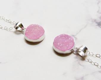 Boho druzy necklace, pink geode, stone pendant