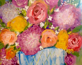 "Oil painting still life"" 14 x14 ""sweet summer days"""
