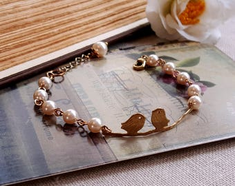 Swarovski pearl bracelet Bird on branch bracelet Swarovski jewelry