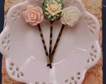 Set of 3 bobby hair pin Flower cabochon Cameo hair pin Sage green ivory blush pink flowers