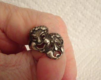 Sterling Silver Happy and Sad Theater Face Ring - size 5 3/4
