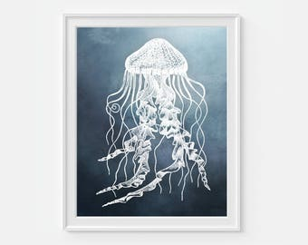Jellyfish Art Print, Beach Decor, Ocean Art, Sea Life 5x7, 8x10, 11x14 Nautical Wall Decor, Beach Print, Jelly Fish Decor, Nautical Art