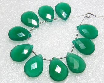 Green Onyx - 5 Matching Pairs - Faceted - Pear Shape - size 12x16 mm