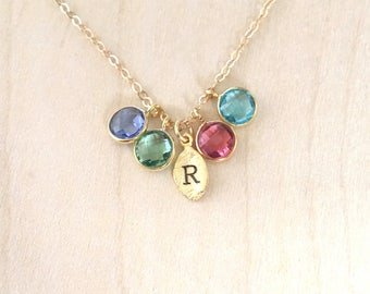 Initial Birthstone Necklace,  Birthstone Necklace for Mom, Family Tree Necklace, Birthstone Jewlery, Mom Necklace