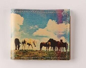 horses wallet - mini wallet - Leather wallet - mens wallet - bifold wallet - compact wallet - front pocket wallet - womens wallet