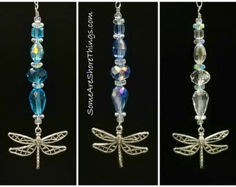 Dragonfly Glass Beaded Rear View Mirror Ornament.  Choice of Aquamarine, Blue, Clear Faceted Glass Beads.  Coastal Xmas. Gift Exchange Idea.