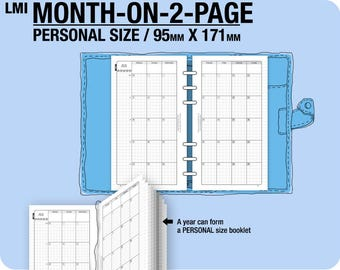 MO2P January to December 2018 / Personal month-on-2-page MON - Filofax Inserts Refills Printable Binder Planner.