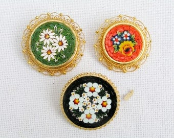 3 Vintage Micro Mosaic Floral Brooches Made in Italy Black Orange Green Retro Italian Pins Brooches Italian Art