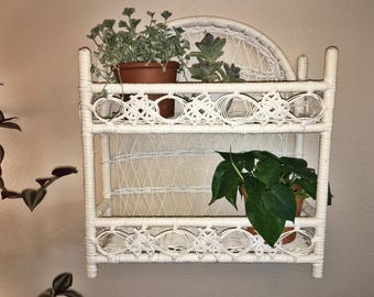 Vintage white wicker 2 tier hanging wall shelf //stand alone display
