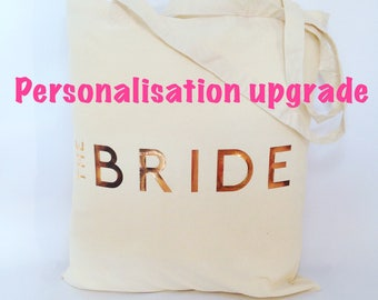 Personalisation cost to Metallic Tote Bag