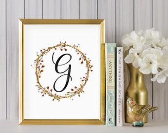Instant Download - Wreath Initial Print - Monogram letter G print - Letter Print - Letter G printable - Floral Monogram - Initial Print