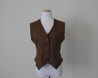 FREE usa SHIPPING Vintage Apparel women's wool vest/ waistcoat/ button up vest/ sleeveless vest/ revival/ back buckle vest/ size 40