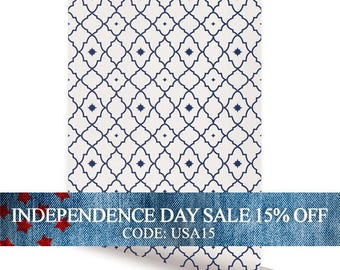 Independence Day Sale - Moroccan Star Navy Peel & Stick Fabric Wallpaper Repositionable