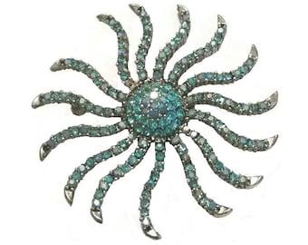 STARBURST Brooch CELESTIAL Statement Jewelry Sparkly Aqua Blue Rhinestone Broach Vintage Cosmic Pin Mid Century Atomic Sunburst Star Gift