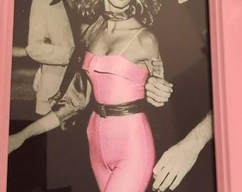 "Olivia Newton-John pink print in a gold frame 6x4"""