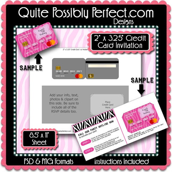 credit card invitation template with editable text is in psd