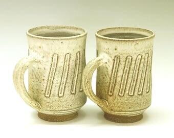 Hand carved mugs, tall mugs, handmade ceramics, unique coffee mugs, tea cups, wedding gift