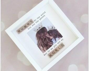 "Mummy "" my whole world"" photo frame, great mothers day gift, mum frame, mummy gift,"