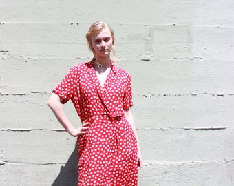 vtg sunfire print red wrap dress classic sun dress MEDIUM m large lrg l