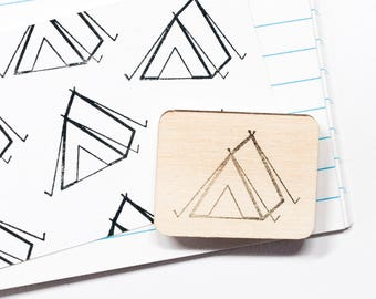 Tent Rubber Stamp Camping Outdoor Stamps Scrapbooking Card Making