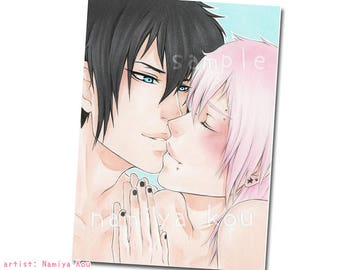 ACEO ATC Print 'Your Ally' Adorable Yaoi Print, Boys Love Couple, Shounen Ai Drawing, Romantic ACEO Card, Manga Illustration, Hot Emo Boys