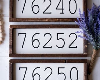 Custom Zip Code Sign - Wood Sign - White Wooden Sign