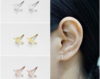 925 Sterling Silver Earrings, Cross Earrings, Gold Plated Earrings, Rose Gold Plated Earrings, Stud Earrings (Code : E48A)