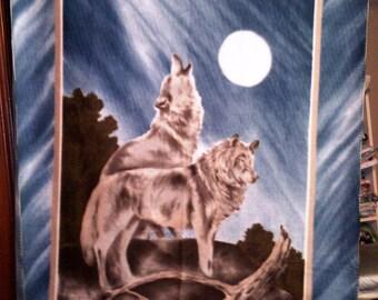 Wolf Moon Native American Blanket Style Fleece Throw
