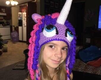 Crochet Unicorn pony beanie
