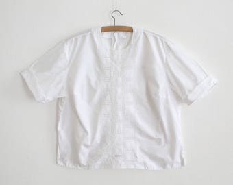 White Cotton Embroidered blouse - 1960s - Made in France