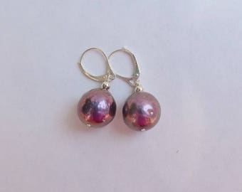 Round Mauve Lilac Baroque Pearl Earrings