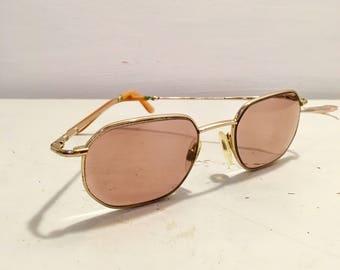 Pair of rose tinted vintage glasses  - reading glasses - gold frames